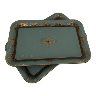 1960s Vintage Painted Metal Trays - a Pair For Sale