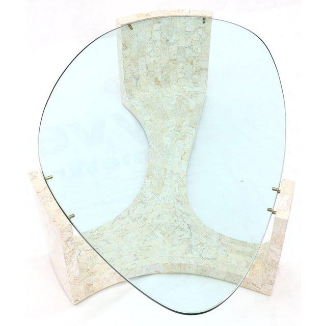 Tessellated Stone Veneer Tile Organic Kidney Shape Coffee Center Table For Sale - Image 12 of 13