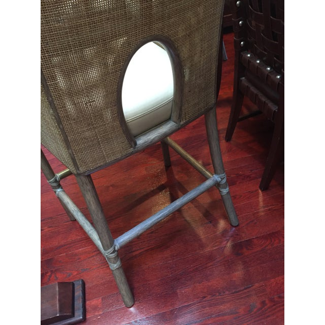 Leather Rattan Cane Counter Height Chairs - Set of 4 - Image 10 of 12