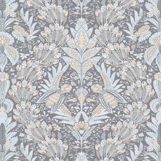 """Lewis & Wood Hawksmoor Christ Church Extra Wide 52"""" Damask Style Wallpaper Sample For Sale"""