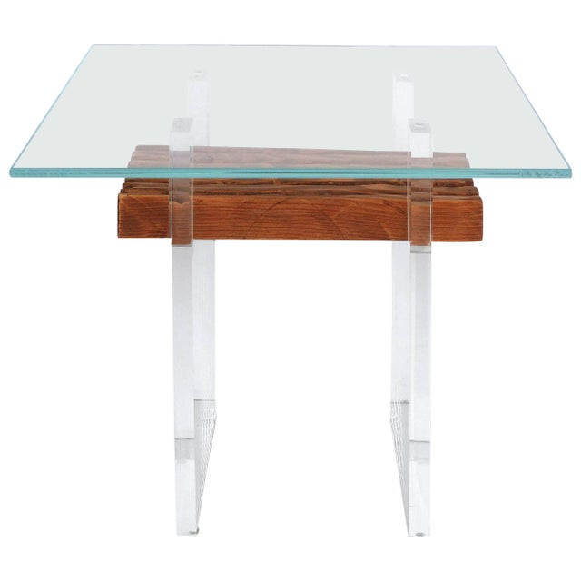 Wood Lucite, Wood and Glass Side Table For Sale - Image 7 of 7