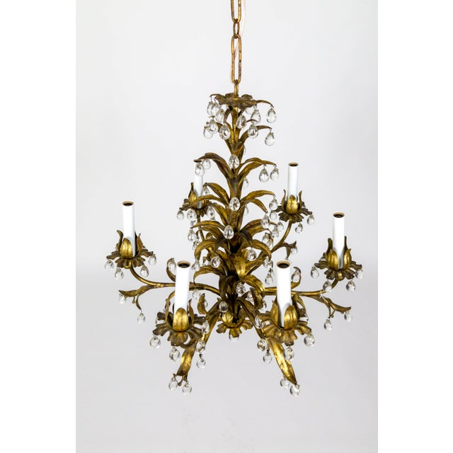 Crystal Palm Beach Style Gilt Leaves and Grape Crystal Chandelier For Sale - Image 7 of 13