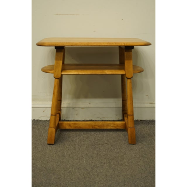 """Brown Mid Century Modern Solid Hard Rock Maple 25x15"""" End Table For Sale - Image 8 of 10"""