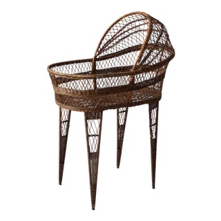 Antique Wicker Bassinet For Sale