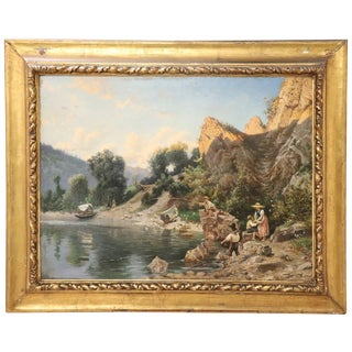 19th Century Italian Oil Painting on Canvas Impressionist Landscape With Frame For Sale