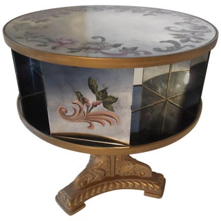 Églomisé Rotating Drum Table With Mirrored Galleries For Sale