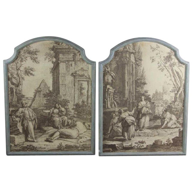 """18th Century French Grisaille """"Papiers Peints"""" Panels - a Pair For Sale - Image 5 of 5"""