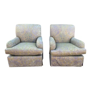Italian Fortuny Swivel Chairs - a Pair For Sale
