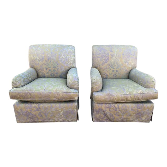 Pair of Italian Fortuny Swivel Chairs For Sale
