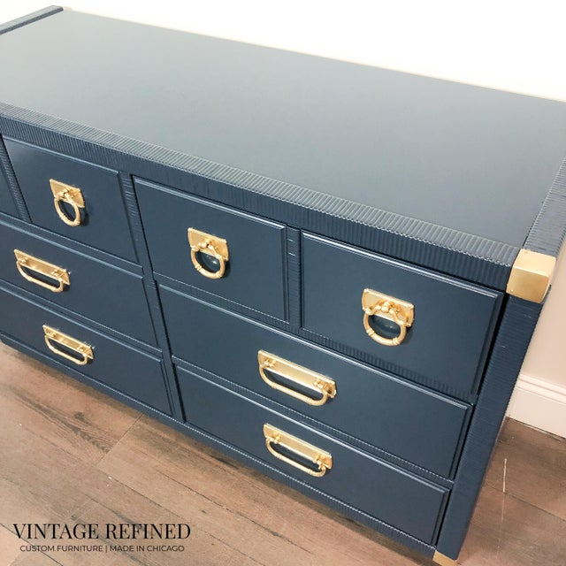 English Traditional 1960s English Traditional Navy Lacquer Drexel Dresser For Sale - Image 3 of 7