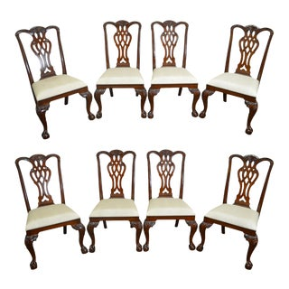 Mailand Smith Chippendale Style Mahogany Dining Chairs - Set of 8