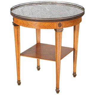 1920s Louis XVI Spanish Marble and Wood Bouillotte Table