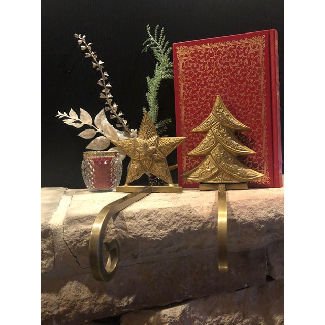 Late 20th Century Vintage Antiqued Brass Stocking Hangers Tree & Star - a Pair For Sale - Image 5 of 9