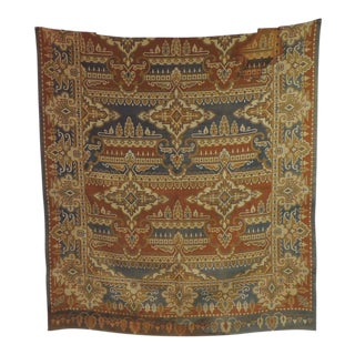 19th Century Blue and Rust Arts & Crafts Woven Textile Panel For Sale
