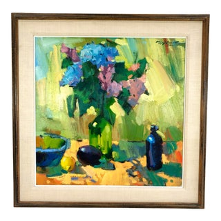 1977 Vintage William Reese Summer Bloom Oil on Canvas Still Life Signed Painting For Sale