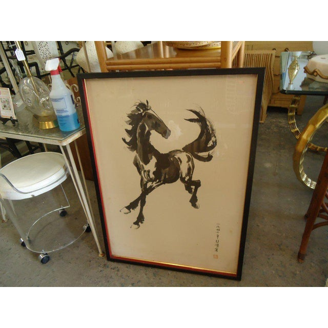 Japanese Equestrian Ink Horse Painting - Image 6 of 7