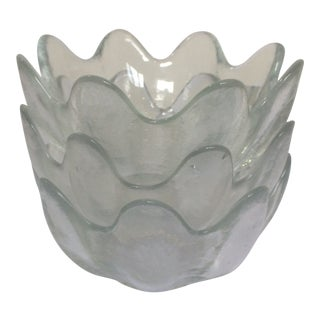 Blenko Small Scalloped Lotus Bowls - Set of 3 For Sale