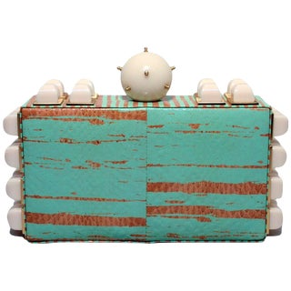 Tonya Hawkes Teal and White Embellished Box Clutch For Sale