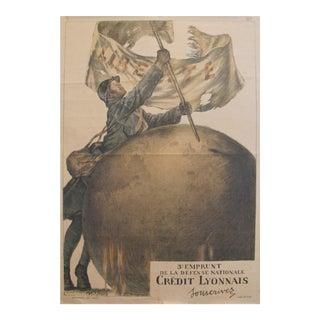 1917 French Wwi War Bonds Poster, 3e Emprunt De La Defense Nationale (Crédit Lyonnais) For Sale