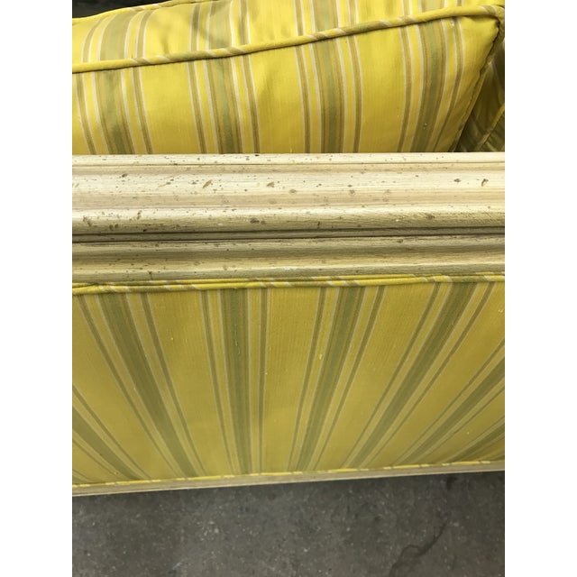 Bright Yellow & Green Stripe French Directoire Louis XVI Settee Loveseat For Sale - Image 9 of 13