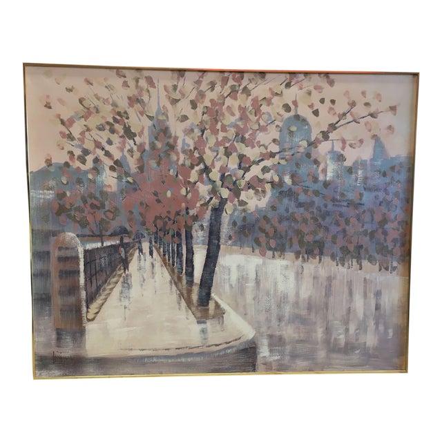 Lee Reynolds Original Oil Painting Rainy Cityscape For Sale