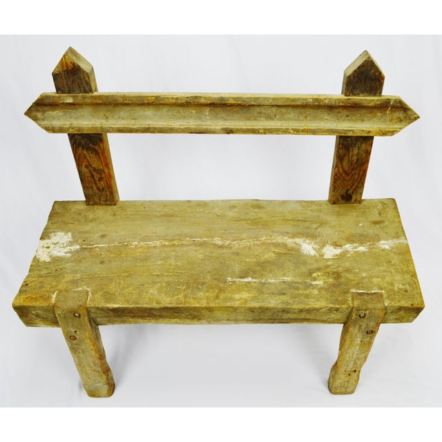 """Antique Primitive """"Petrified"""" Wood Log Bench Dimensions: 40""""W x 16""""D x 33.25""""H (seat height is approximately 15"""")...."""