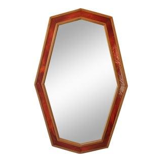 1970s Red Glazed Ceramic Mirror