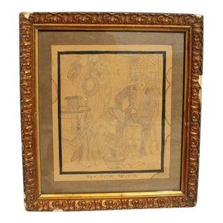 "1910s ""Her First Drawing"" Framed Illustration in Giltwood Frame For Sale"