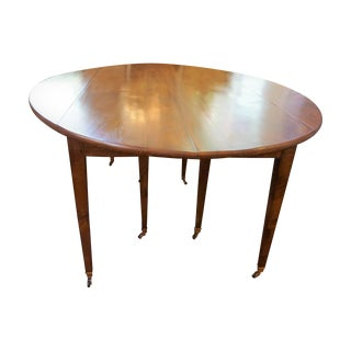 Walnut Directoire Drop Leaf Dining Room Table For Sale