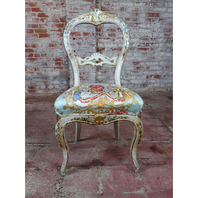 """18th century Venetian Painted and upholstered Side Chair size 19 x 17 x 39"""" seat height 20"""" A beautiful piece that will..."""