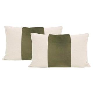 "12""x18"" Bay Leaf Velvet Panel & Linen Lumbar Pillows - a Pair For Sale"