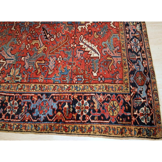 Red 1900s, Handmade Antique Persian Heriz Rug For Sale - Image 8 of 12