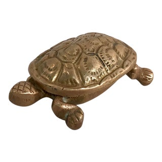 Vintage Mid-Century Brass Turtle Trinket Box For Sale