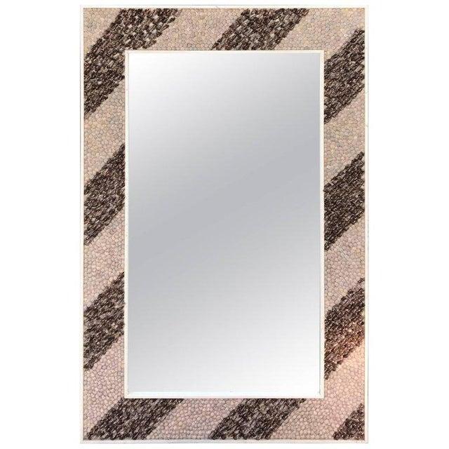 Mid-Century Modern Rectangular Shell Mosaic Frame Mirror Art For Sale - Image 4 of 5