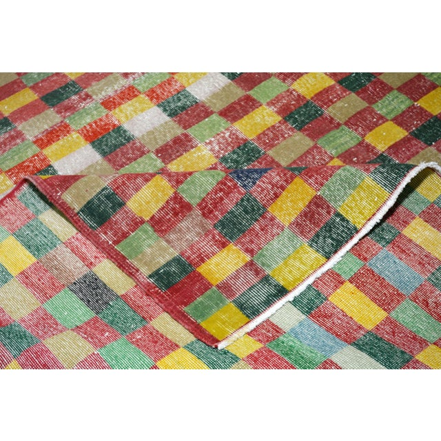 """Vintage Turkish Anatolian Art Deco Hand Knotted Organic Wool Fine Weave Rug,7'1""""x10'7"""" For Sale In New York - Image 6 of 7"""