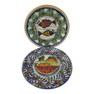 Mexican Talavera Hand Painted Pottery Display Plates, S/2 For Sale
