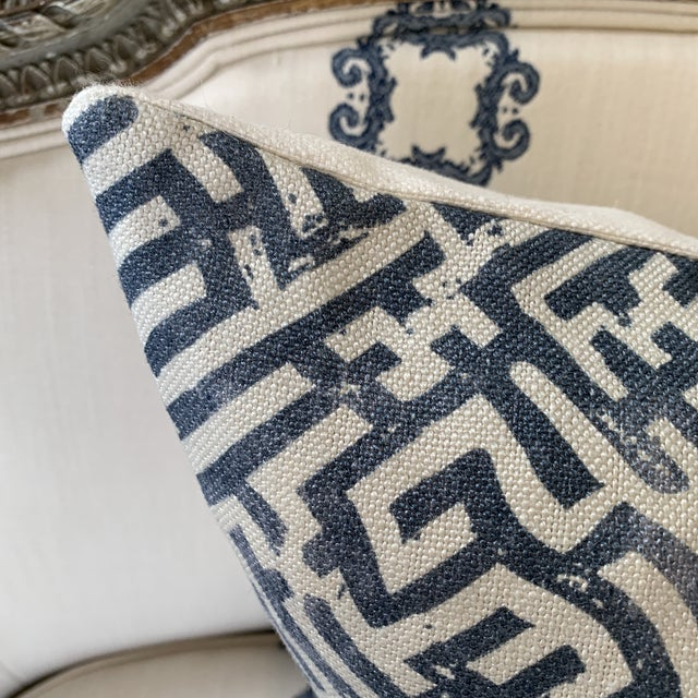 Boho Chic Zak & Fox Basilica Blue and Natural Linen Pillow For Sale - Image 3 of 7
