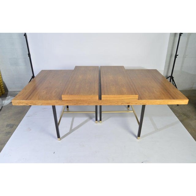 Metal Harvey Probber Rosewood and Mahogany Dining Table With Brass Accents For Sale - Image 7 of 8