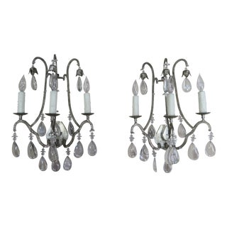Pair of Italian Silvered Crystal Sconces