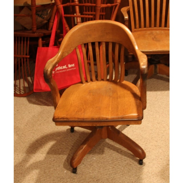 Antique Office Chair With Casters - Image 2 of 3