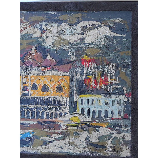 """Vintage Mid Century Original Expressionist Oil On Canvas-""""Venice"""" Cityscape-Framed - Image 5 of 7"""