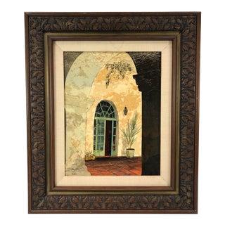 1971 Framed Multimedia Art of El Paseo Architectural Doorway - Signed For Sale