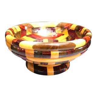 1960s Multicolored Wood Pedestal Bowl For Sale