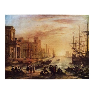 """1950s Claude Lorrain """"Seaport at Sunset"""" First American Edition Cottage Lithograph For Sale"""