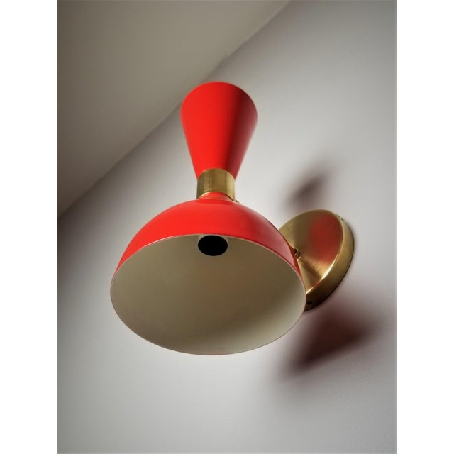 "Not Yet Made - Made To Order Italian Modern Brass and Enamel ""Ludo"" Wall Sconces Blueprint Lighting - A Pair For Sale - Image 5 of 8"
