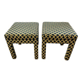 Parsons Trellis Fabric Footstools- a Pair For Sale