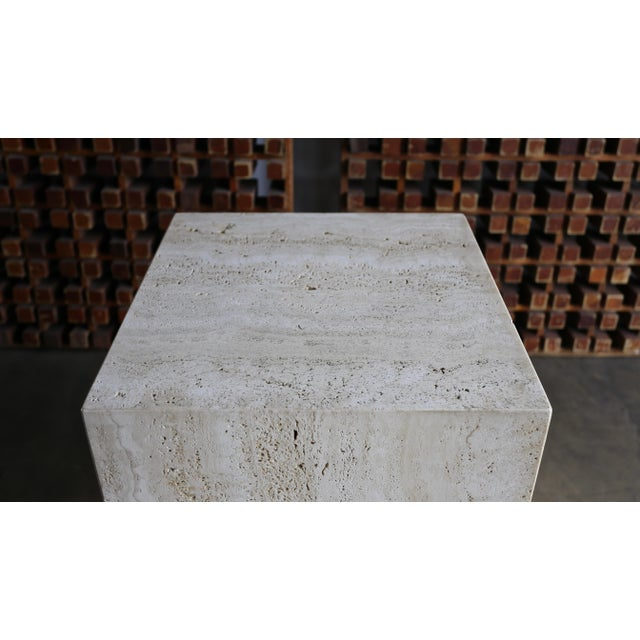 Angelo Mangiarotti Late 20th Century Tall Travertine Pedestal For Sale - Image 4 of 6