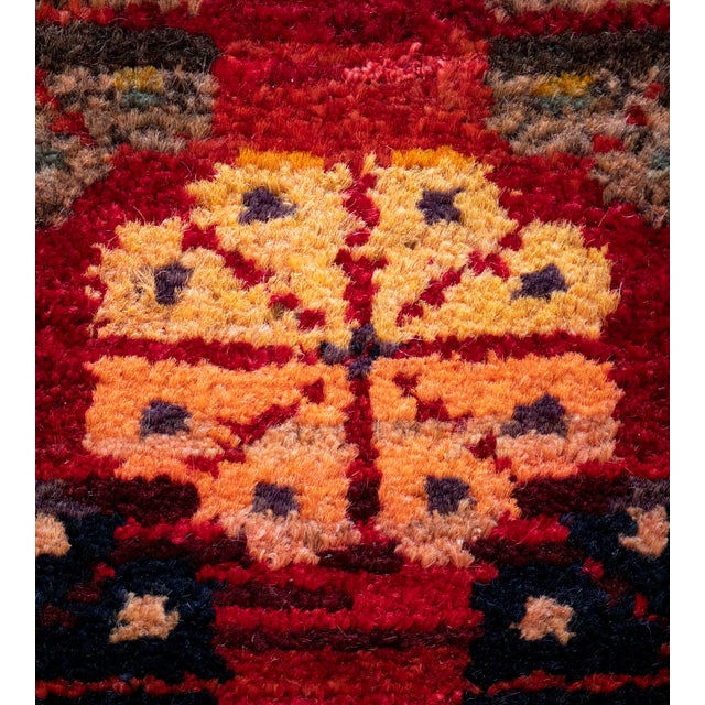 MANSOUR Mid 20th Century Vintage Floral Tomato-Red Handwoven Wool Turkish Rug For Sale - Image 4 of 9