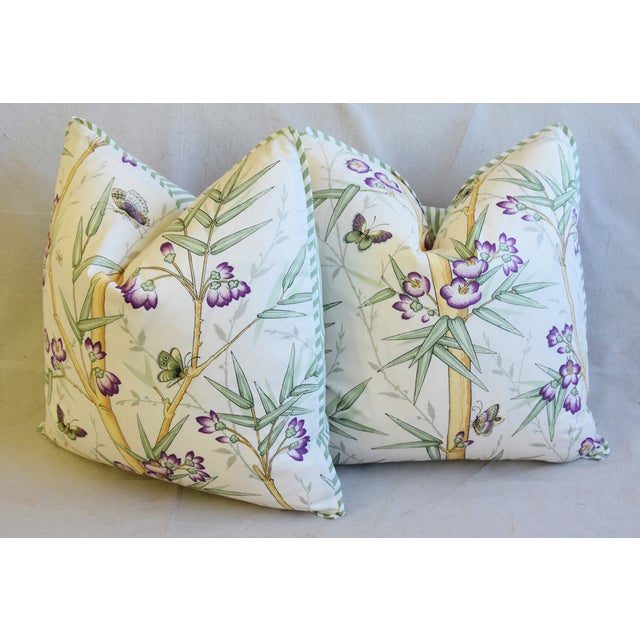 "Clarence House Bamboo Fabric Feather/Down Pillows 21"" Square - Pair For Sale - Image 9 of 13"