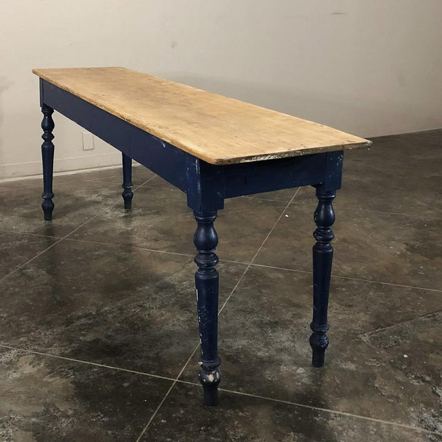 Antique 19th Century Painted Sofa Farm Table With Stripped Top For Sale In Dallas - Image 6 of 13
